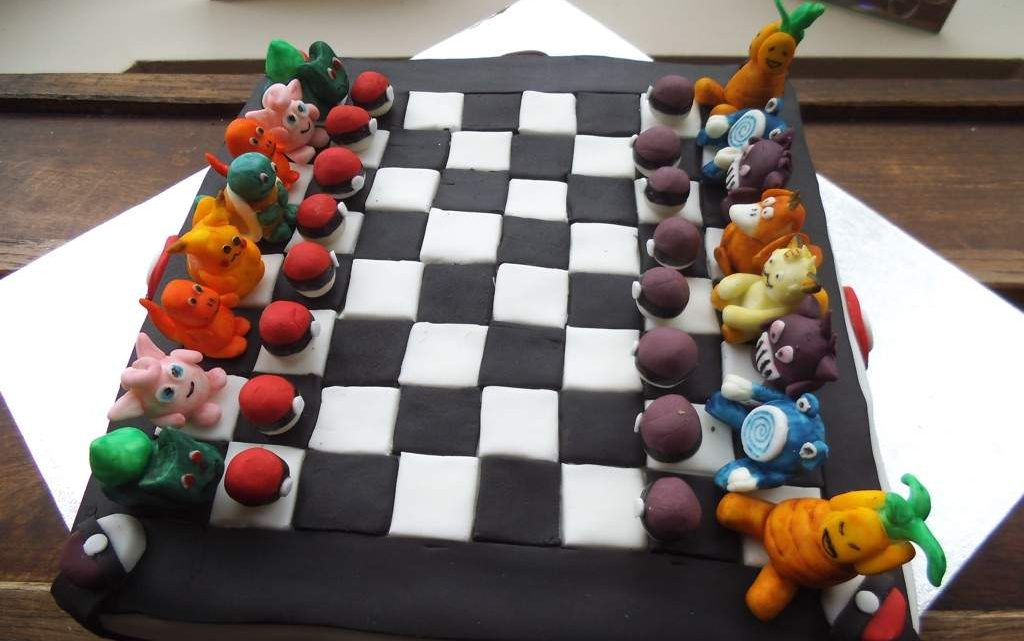 pokemon chess board cake