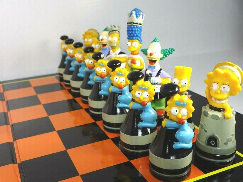 the simpsons chess set black pieces