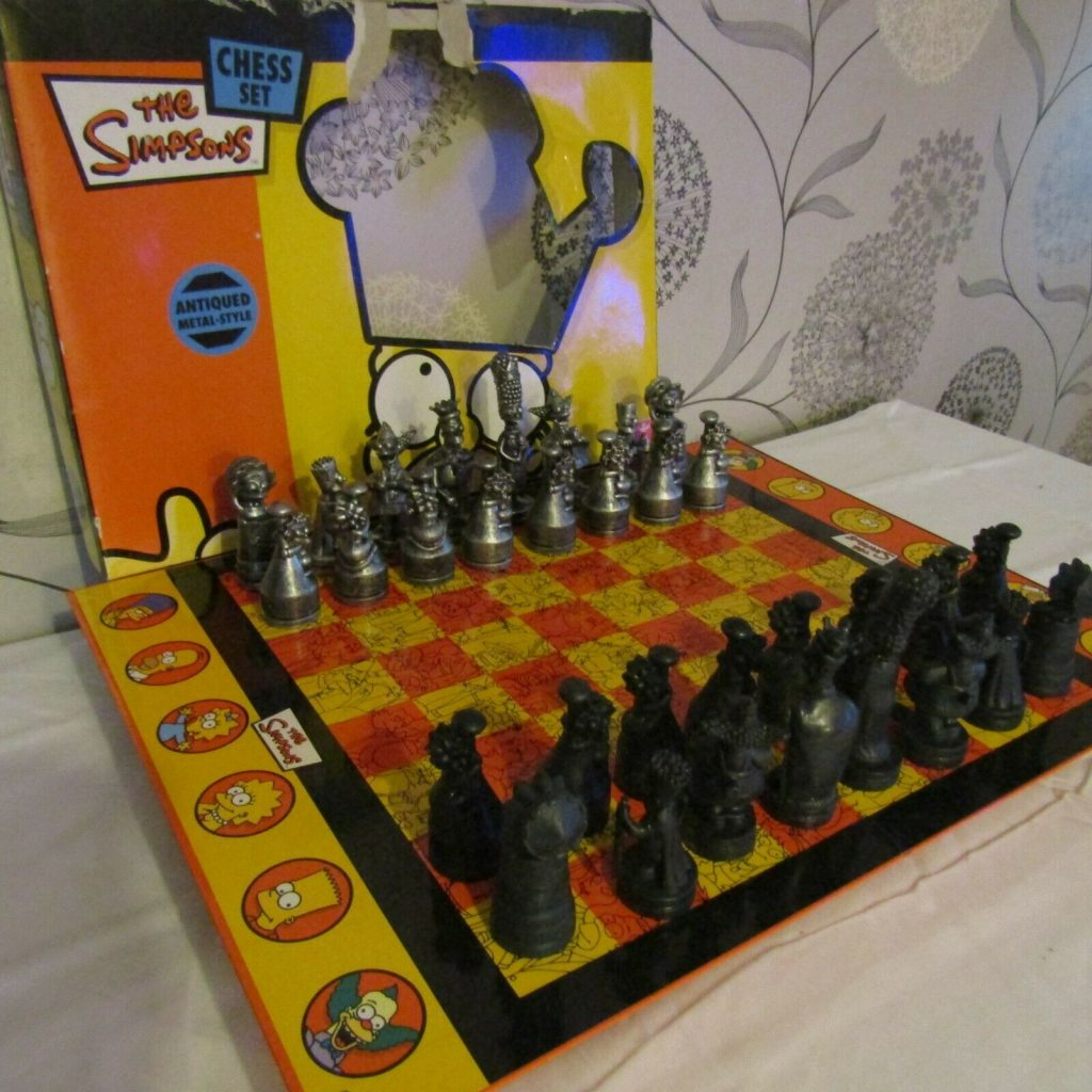 the simpsons chess set metal antique