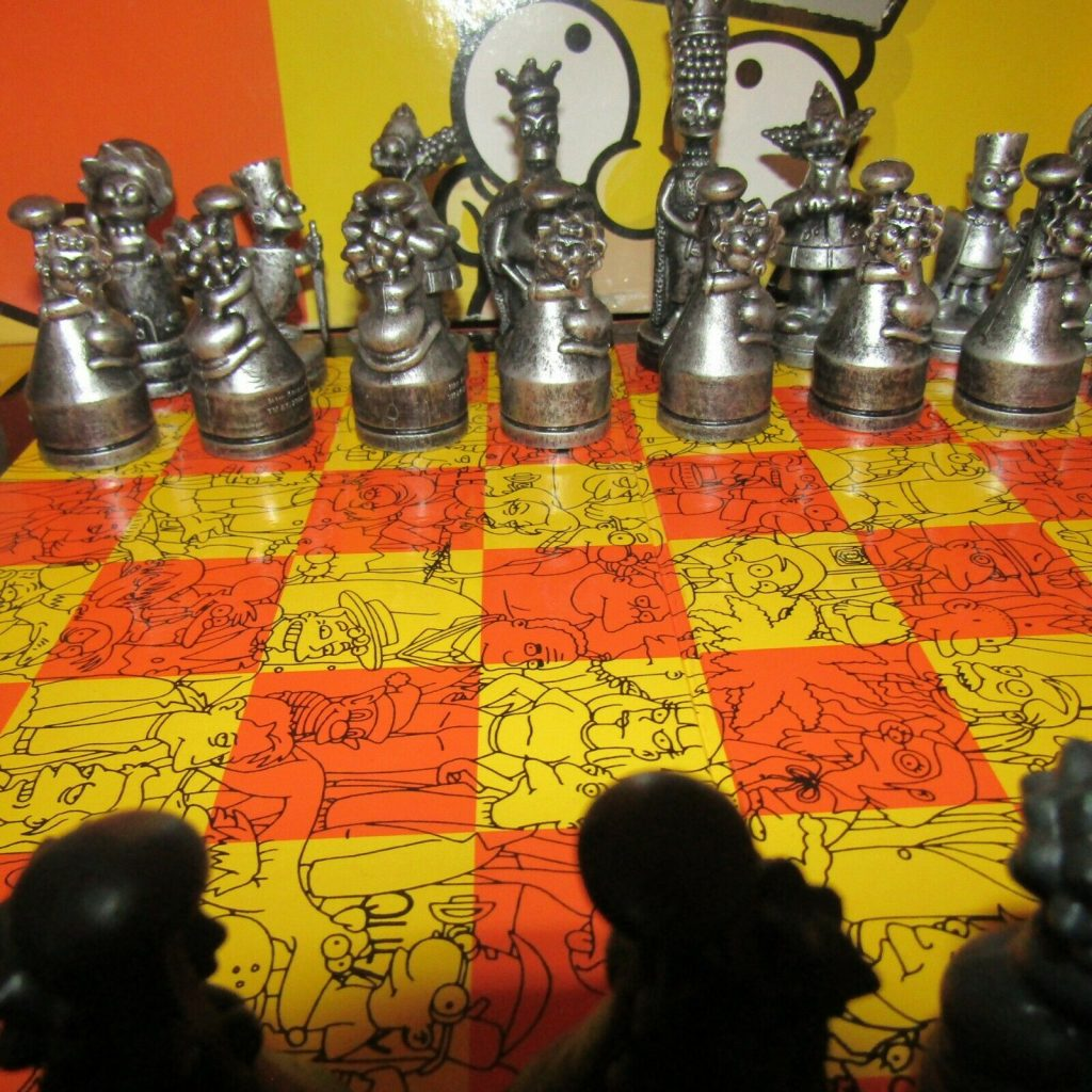 the simpsons chess set metal antique white