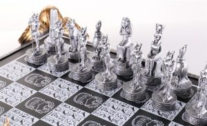 egyptian chess pieces silver