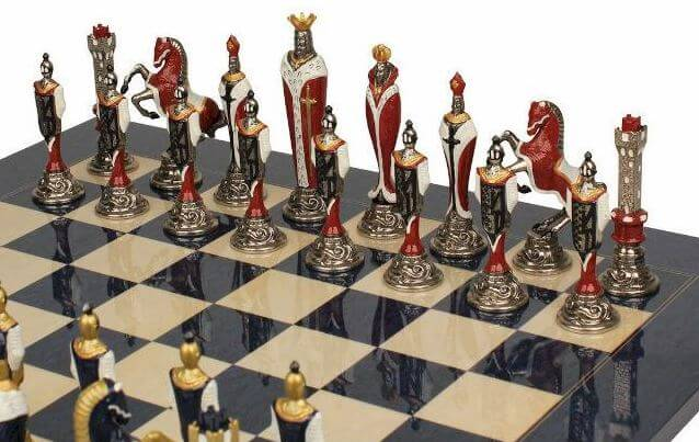 hand painted renaissance chess figures