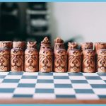Norse mythology wooden chess board