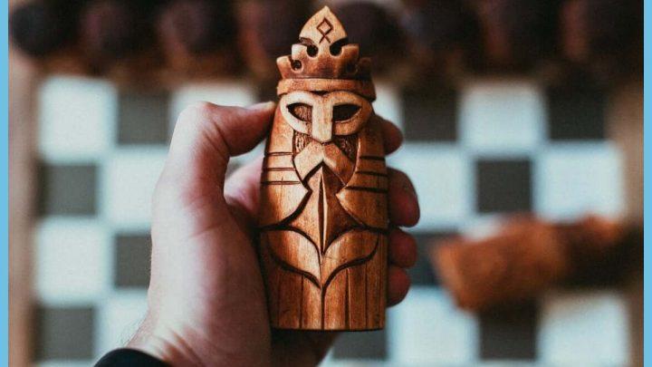Norse mythology wooden chess set