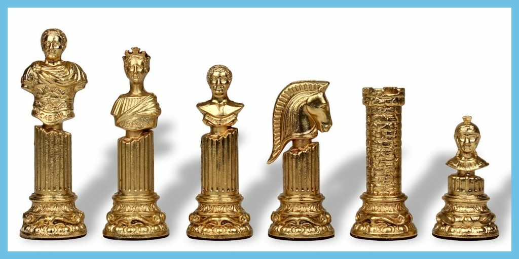 Roman Emperor Bust Theme Metal Chess Set by Italfama